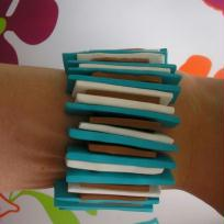 Bracelet fimo brun bleu et blanc