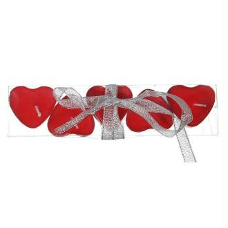 Lot de 5 bougies Coeur rouge Chauffe-plat 3,5 cm, dans boite en pvc
