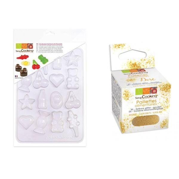 Moule en plastique pour bonbons et chocolats + paillettes dorées - Photo n°1