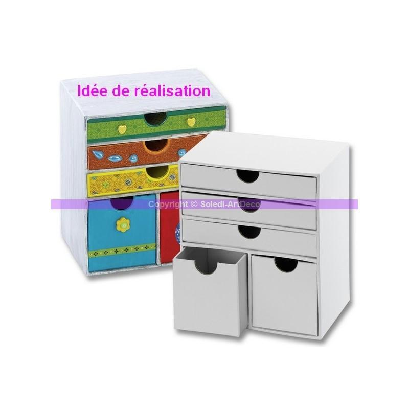 Commode 5 tiroirs en carton blanc 16 cm meuble for Meuble carton tuto