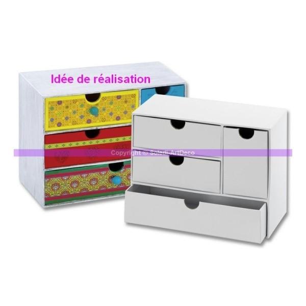 Commode large à 4 tiroirs en carton blanc, 16 cm, Meuble à customiser - Photo n°1
