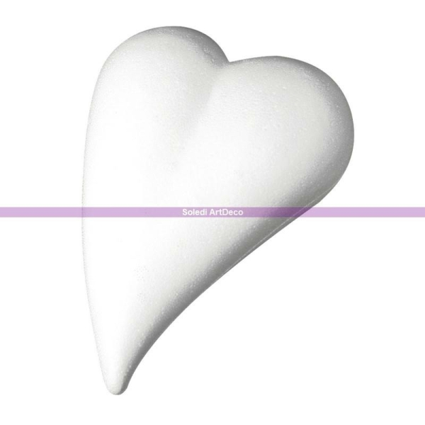 Grand Coeur allongé en polystyrène, Forme Goutte, 35 cm x 24,5 cm, plat - Photo n°1