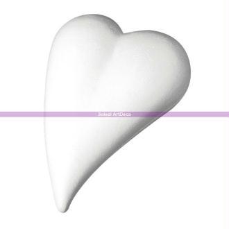 Grand Coeur allongé en polystyrène, Forme Goutte, 35 cm x 24,5 cm, plat