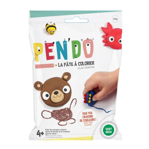 Pâte pour fabriquer ses crayons de couleurs Pen'do - vert 30 g - Photo n°1
