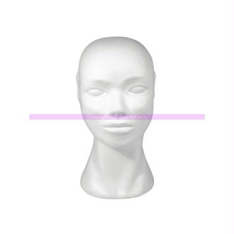Tête féminine en polystyrène blanc, hauteur 29 cm