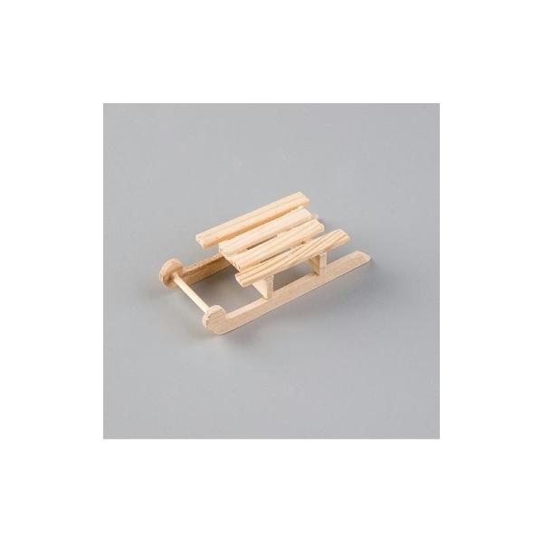 Luge traditionnelle en bois de 8 cm, Miniature en bois brut - Photo n°1