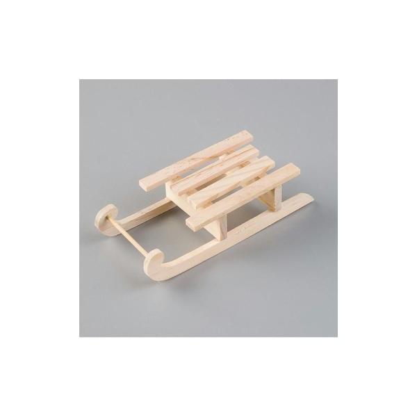Luge traditionnelle en bois de 14 cm, Miniature en bois brut - Photo n°1