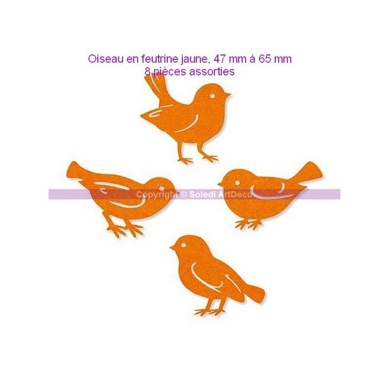 Oiseau en feutrine orange 47 65 mm 8 pi ces assorties for Oiseau de voliere exterieur