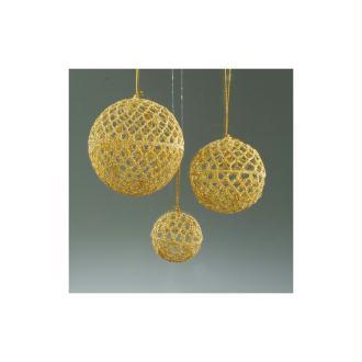 Boule de Noël crochetée artisanalement de 6 cm, Doré, Lot de 4