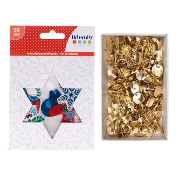 50 stickers papier washi Folk + 150 punaises dorées - Photo n°1