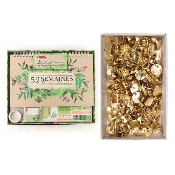 Desk planner Botanique + 150 punaises dorées - Photo n°1