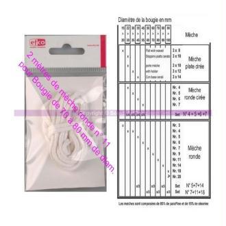 2 mètres de Mèche ronde N°11, 100 % coton pr Bougie de 70 à 80 mm de diam.