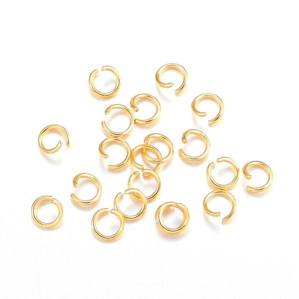 Anneaux acier inoxydable 4 mm doré x 20 - Photo n°1