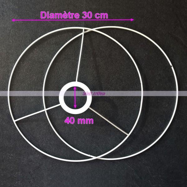 Set d'Ossature Noir diamètre 30cm pour suspension ou abat-jour, Anneaux ronds en Epoxy noir, pour do - Photo n°2