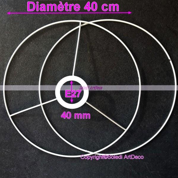Set d'Ossature Noir Diamètre 40 cm pour suspension ou abat-jour, Grands Anneaux ronds Epoxy noir, po - Photo n°2