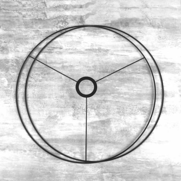 Set d'Ossature Noir Diamètre 40 cm pour suspension ou abat-jour, Grands Anneaux ronds Epoxy noir, po - Photo n°1