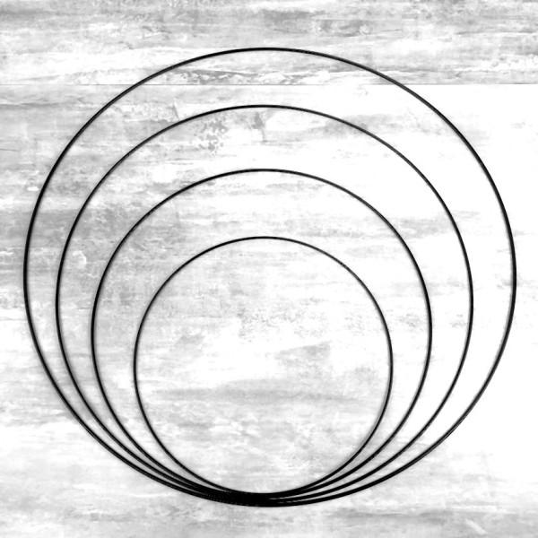 Lot 4 grands Cercles métal Noir Ø 30 cm à 60 cm, Anneaux en Epoxy noir pour Attrape rêves, abat-jour - Photo n°1