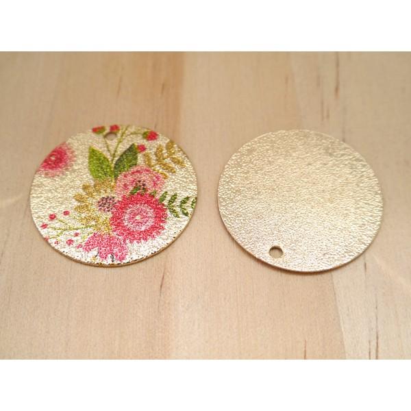 2 Breloques rondes pailletées 20mm imprimé fleur doré, vert, rose - Photo n°2