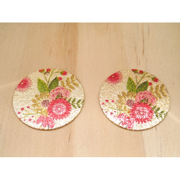 2 Breloques rondes pailletées 20mm imprimé fleur doré, vert, rose - Photo n°1