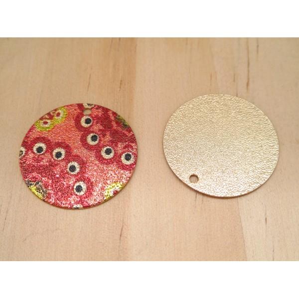 2 Breloques rondes pailletées 20mm imprimé ethnique, oeil doré et rouge - Photo n°2
