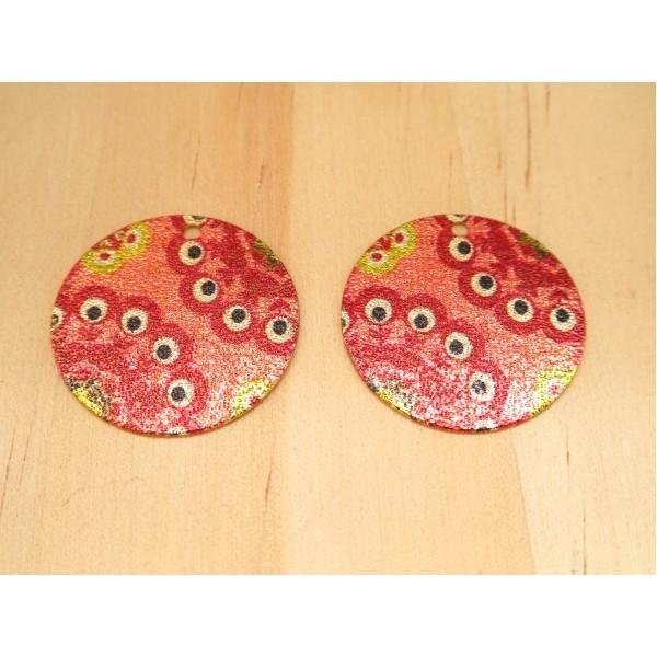 2 Breloques rondes pailletées 20mm imprimé ethnique, oeil doré et rouge - Photo n°1