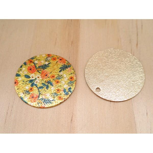 2 Breloques rondes pailletées 20mm imprimé fleur  doré, vert, orange - Photo n°2
