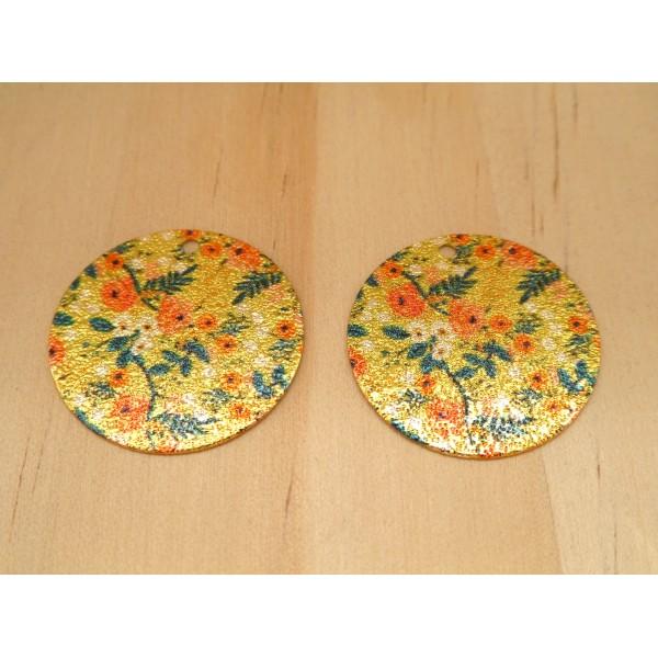 2 Breloques rondes pailletées 20mm imprimé fleur  doré, vert, orange - Photo n°1
