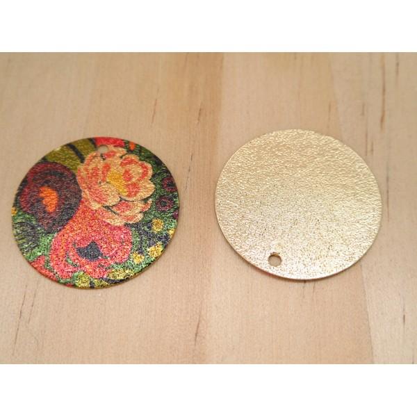2 Breloques rondes pailletées 20mm imprimé fleur pivoine doré, vert, bordeaux, rouge - Photo n°2