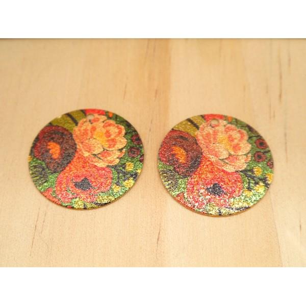 2 Breloques rondes pailletées 20mm imprimé fleur pivoine doré, vert, bordeaux, rouge - Photo n°1
