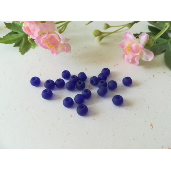 Perles en verre givré 6 mm bleu nuit x 25 - Photo n°2