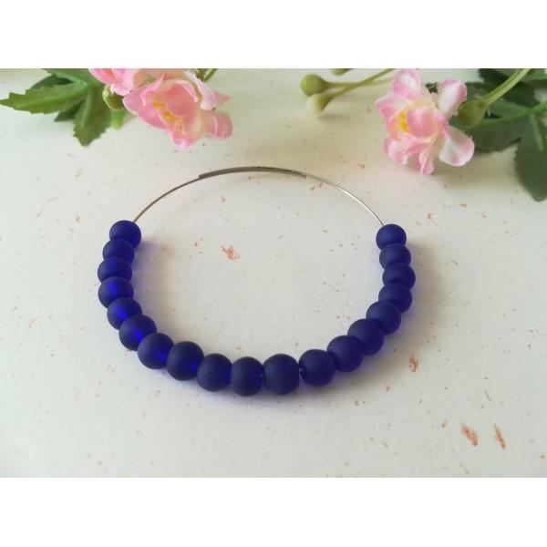 Perles en verre givré 6 mm bleu nuit x 25 - Photo n°1