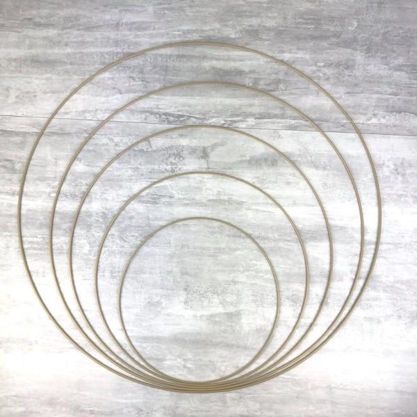 Lot 5 grands Cercles métal Doré ancien Ø 30 cm à 70 cm, Anneaux en Epoxy pour Attrape rêves, abat-jo - Photo n°1