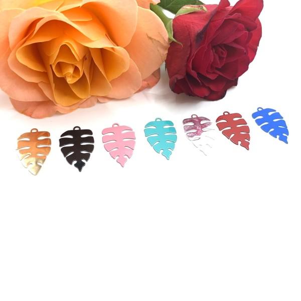 4 Pendentifs Feuilles Tropicales, Métal Rose , Breloques Feuilles, 22*13 mm - Photo n°2