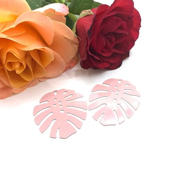 2 Pendentifs Feuilles Tropicales Arrondies Rose, 36*32 mm - Photo n°1