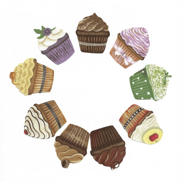9 Patch Thermocollants Tissu Cupcakes Appliques à repasser Scrapbooking ou Couture - Photo n°1