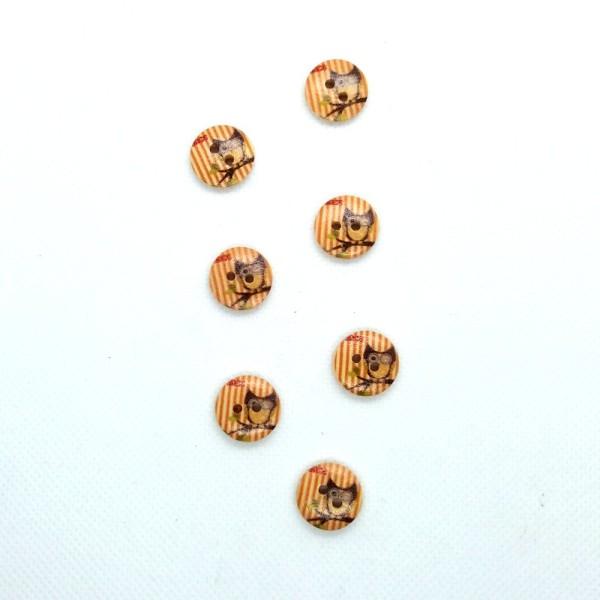7 Boutons en bois - rayure orange et chouette grise - 15mm- bri493n4 - Photo n°1