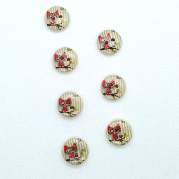 7 Boutons en bois - rayure bleu et chouette rouge - 15mm- bri493n5 - Photo n°1