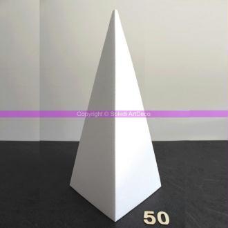 Pyramide 4 faces de 50 cm, Présentoir polystyrène pro haute densité, 25 kg/ m3