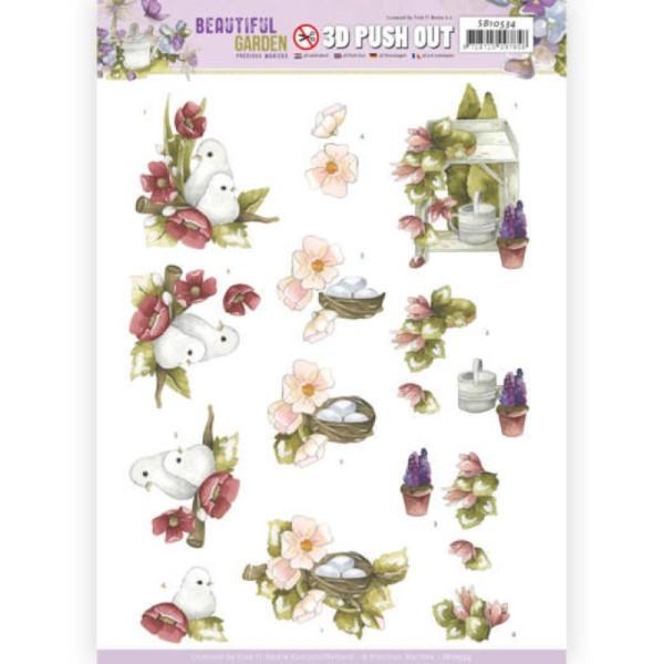 Carte 3D prédéc. - SB10534 - Beautiful garden - Pigeons - Photo n°1
