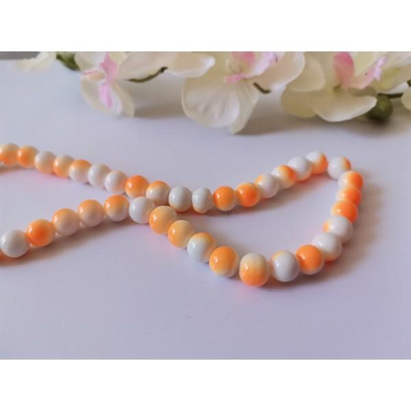 Perles en verre 8 mm bicolore blanc et orange x 20 - Photo n°1