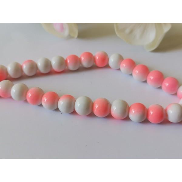 Perles en verre 8 mm bicolore blanc et rose x 20 - Photo n°1