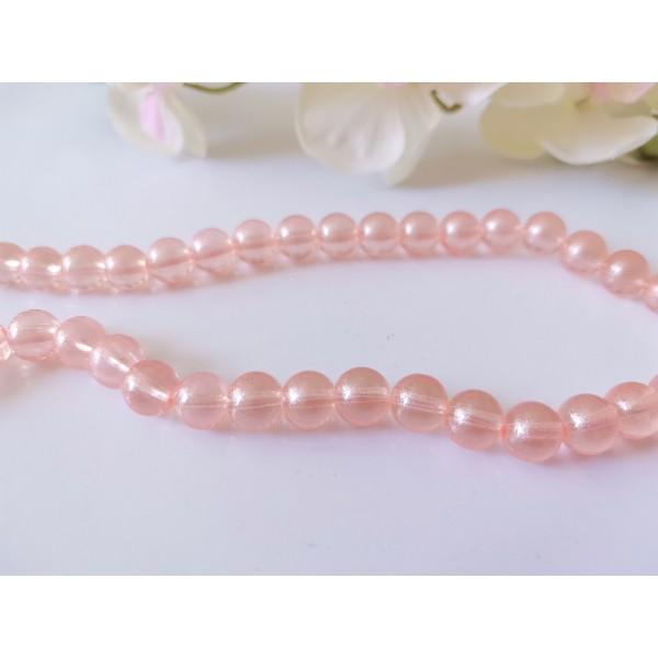 Perles en verre 8 mm brillantes saumon x 20 - Photo n°1