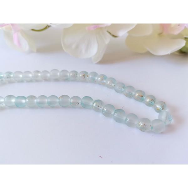 Perles en verre feuille d'or 6 mm bleu clair x 22 - Photo n°1
