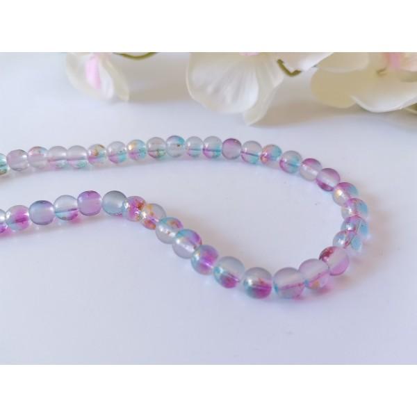 Perles en verre feuille d'or 6 mm violet bleu x 21 - Photo n°1