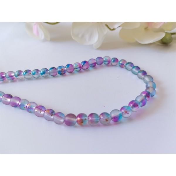 Perles en verre feuille d'or 6 mm fuchsia bleu x 22 - Photo n°1