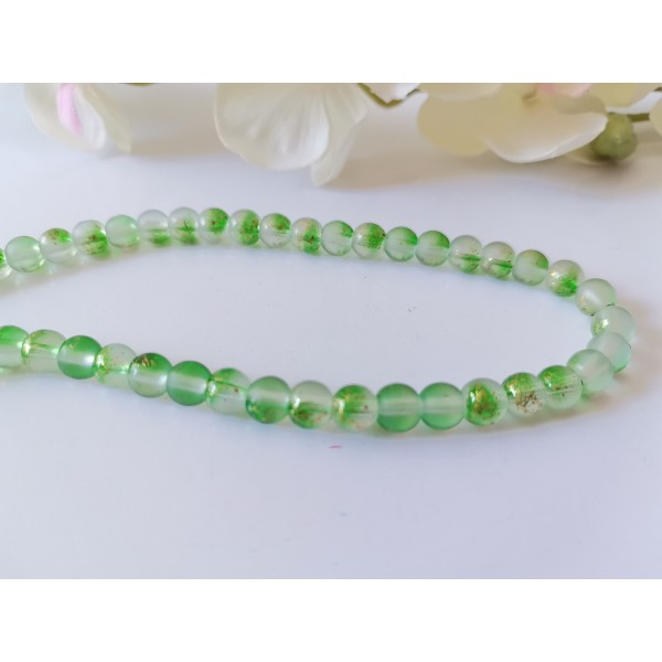 Perles en verre feuille d'or 6 mm vert x 22 - Photo n°1