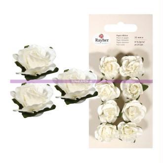 Lot de 8 Têtes de Rose blanches, Grand bouton de rose de 25 mm de diamètre