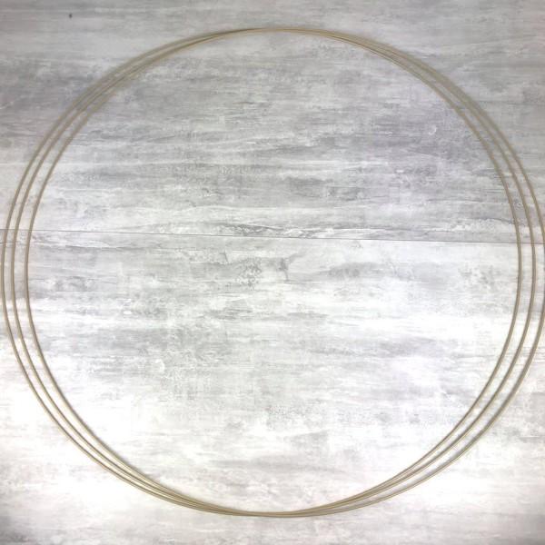Gros lot de 3 Grands Cercles XXL métalliques Doré ancien diam. 100 cm pour abat-jour, Anneaux epoxy - Photo n°1