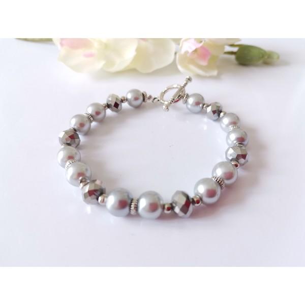 Kit bracelet perles en verre argentées et nacrées grises - Photo n°1