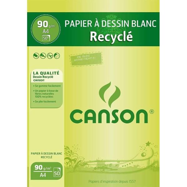Bloc de papier à dessin recyclé, A4, 90 g/m² - Blanc - Photo n°1